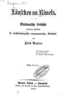 Läuschen Un Rimels Plattdeutsche Gedichte Heiteren Inhalts