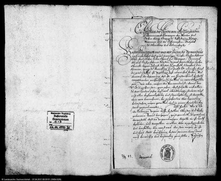 Korrespondenz des Fürsten Johann Casimir von Anhalt-Dessau mit dem König Christian IV. von Dänemark