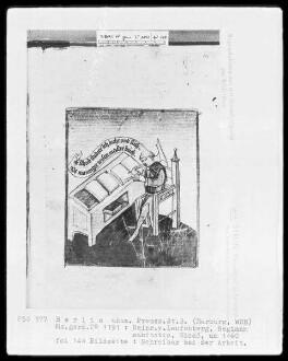Heinrich von Laufenberg, Regimen sanitatis, deutsch — Schreiber bei der Arbeit, Folio 144recto