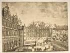 Schlosshof von Westen: Blick auf Ottheinrichsbau, militärische Aufführung
