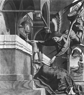 Kirchenväteraltar — Vier Szenen aus der Legende des heiligen Wolfgang — Der heilige Wolfgang erfleht ein Wunderzeichen