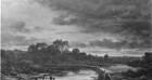 Abendlandschaft mit Steg im Vordergrund / Abendliche Flusslandschaft
