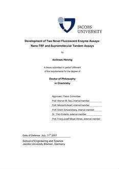 Development of Two Novel Fluorescent Enzyme Assays - Nano-TRF and Supramolecular Tandem Assays