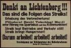 """""""Denkt an Lichtenberg!"""" Aufruf gegen den von den Spartakisten und Kommunisten initiierten Streik"""