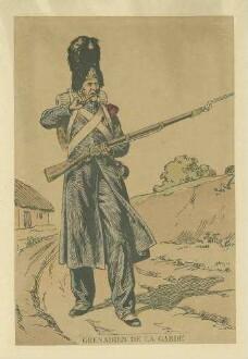 Stab Kaiser Napoleon I.: Grenadier der Garde in Uniform, Mütze und Feldausrüstung, stehend, in Halbprofil
