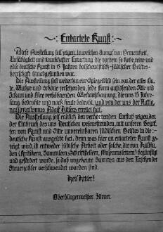 """Geleitwort des Dresdner Oberbürgermeisters für die 1. Ausstellung sogenannter Entarteter Kunst """"Spiegelbild des Verfalls"""" im Lichthof des Rathauses"""