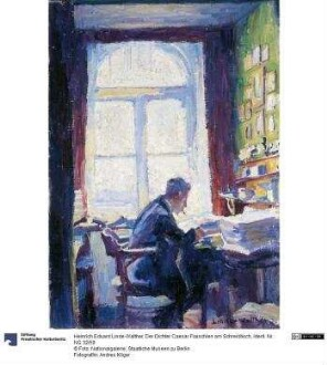 Der Dichter Caesar Flaischlen am Schreibtisch
