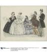 Allgemeine Modenzeitung: vier Damen in eleganten Besuchs-, Haus- und Promenadentoiletten, ein Herr im Cutaway