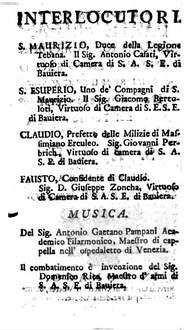 S. Maurizio E Compagni Martiri : Componimento Sacro Per Musica Da Rappresentarsi nel Teatro Di S.A.S.E. Di Baviera La Quadragesima dell'Anno 1753
