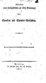 Schreiben eines Landgeistlichen an einen Staatsrath über Synoden und Synodal. Verfassung