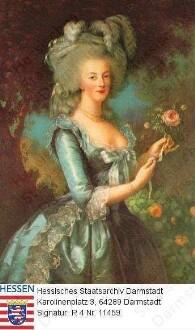 Marie Antoinette Königin v. Frankreich geb. Prinzessin v. Österreich (1755-1793) / Porträt, vor Landschaftskulisse stehend, Kniestück