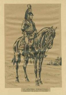 Stab Kaiser Napoleon I.: General d'Hautpoul in Uniform, Brustpanzer und Zierhelm, Kommandant einer Kürassierdivision, zu Pferd, Seiten-Vorderansicht