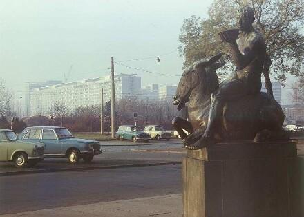 Dresden. Eselreiter von Georg Wrba vor dem Neuen Rathaus