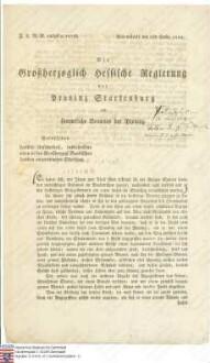 Regierung Darmstadt: Reskript betreffend die Unsicherheit im Lande, insbesondere den in Baden angeordneten Streifzug gegen verdächtiges Gesindel (Druck)