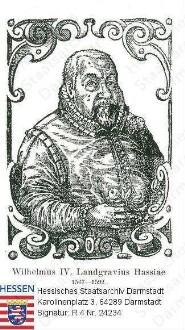 Wilhelm IV. Landgraf v. Hessen-Kassel, gen. der Weise (1532-1592) / Porträt, in Rahmen, Halbfigur, mit Bildlegende