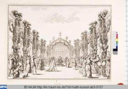 Bühnenbild zu der Oper 'Il fuoco eterno', 10. Bild: Tempel der Viktoria