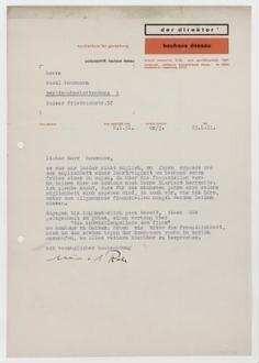 Brief Von Ludwig Mies Van Der Rohe An Raoul Hausmann Dessau