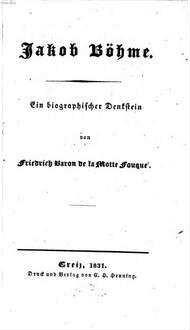 Jakob Böhme : Ein biographischer Denkstein