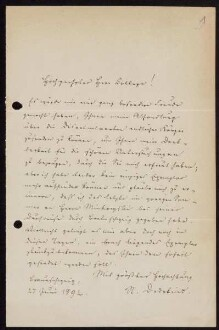 Nr. 1: Brief von Richard Dedekind an David Hilbert, Braunschweig, 27.6.1892
