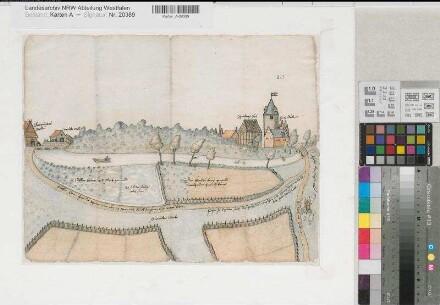 Dülmen (Dülmen) - Ansicht des Hauses Dülmen und der Großenteichsmühle (Grotendiecks Mühle) - 1594 - o.M. - 33 x 43 - kol. Zeichnung - Fürstbistum Münster, Landesarchiv 212 ad Nr. 8