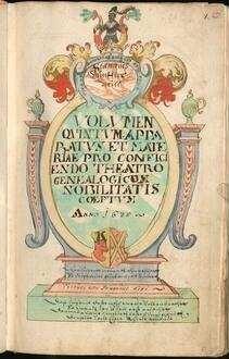 Sammlung Redinghoven, Bd. 69: Wappenbuch. Wappen der Adeligen aus dem Kölner und Mainzer Domstift. Adelsprüfungen [u.a.] - BSB Cgm 2213(69