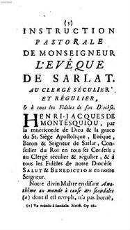 Instruction pastorale de Msgnr. l'Evêque de Sarlat