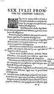 Sex. Ivlii. Frontini De. Coloniis. Lib : Legis Mamiliae. Rosciae Allenae. Pedvcae. capita quaedam ...
