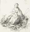 Stillende Maria auf der Rasenbank