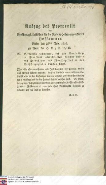 Hofkammer Gießen: Verordnung betreffend die Befreiung sämtlicher beim Bundestag zu Frankfurt akkreditierten Gesandtschaften von der Entrichtung des Chausseegeldes in Hessen (Druck)