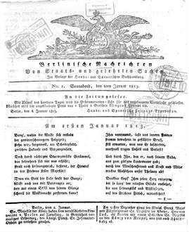Berlinische Nachrichten von Staats- und gelehrten Sachen. 1813,1/6, 1813,1/6