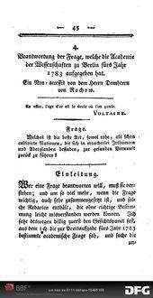 Beantwortung der Frage, welche die Academie der Wissenschaften zu Berlin fürs Jahr 1783 aufgegeben hat