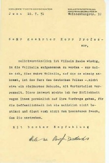 Brief von Helene Voigt-Diederichs