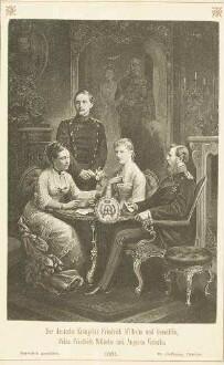 Familienbild, vier Personen: Kronprinz Friedrich Wilhelm, späterer Kaiser Friedrich III., Gemahlin Prinzessin Victoria, spätere Kaiserin, deren Sohn Prinz Wilhelm, späterer Kaiser Wilhelm II. und dessen Gemahlin Prinzessin Auguste Victoria, teils stehend, teils sitzend