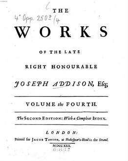 ˜Theœ works of the late right honourable Joseph Addison. 4. 555 S., 6 Bl.