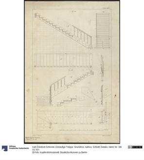 einl ufige treppe grundriss aufriss schnitt details deutsche digitale bibliothek. Black Bedroom Furniture Sets. Home Design Ideas