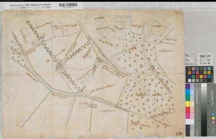 Schwelm (Schwelm) - Gesundbrunnen bei Haus Martfeld - Lageplan - 18.Jh. - (1 : 1000) - 49 x 70 - kol. Zeichnung - KSA Nr. 463b