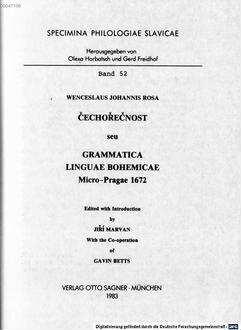 Čechořečnost seu Grammatica linguae Bohemicae