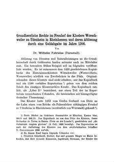Grundherrliche Rechte im Fronhof des Klosters Wörschweiler zu Udenheim in Reinhessen und deren Ablösung durch eine Geldabgabe im Jahre 1266