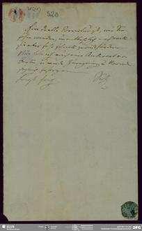 """Eigenh. Brief von August Wilhelm von Schlegel an Buchhandlung Eduard Weber <Bonn> mit Beilage betr. """"Bhagavad-Gita"""", Bonn, 02.06.1820"""