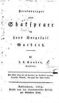 Foreläsninger over Shakspeare og hans Sörgespil Macbeth